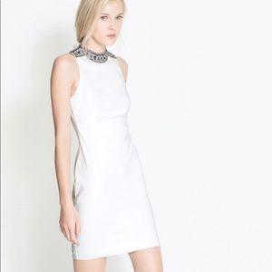 ZARA white collar neck embellished bridal dress sm